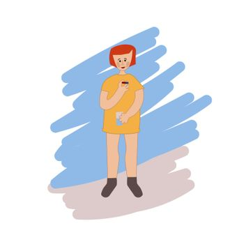 A young girl is drinking medicine. She holds a pill and a glass of water in her hands. Disease treatment. The child is being treated. Vector illustration in hand-drawn style.
