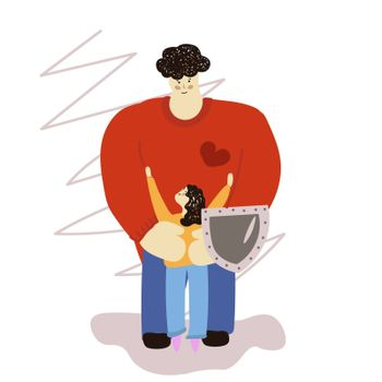 Father hugs daughter. Dad hugs a child. Children Protection Day. A happy family. A man s shield. Vector illustration in hand-drawn style