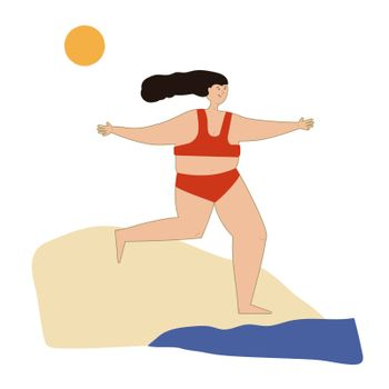 Girl in a red bikini on the beach. Young athletic woman on the seashore, running into the water, swimming in the sea, happy active lady, enjoying extreme sports on vacation, entertaining summer activities. Vector illustration