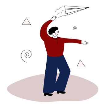 guy launches a paper plane. Launching an airplane. The man is playing. Vector illustration in hand-drawn style