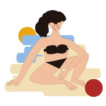 girl sitting on the beach on the sand in a black bikini. Nearby lies a red ball. Vector illustration in hand drawn style