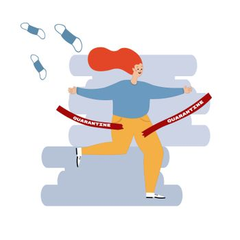 End of quarantine. The abolition of human isolation. Joyful woman tore the protective tape. The end of the pandemic. Vector illustration flat cartoon style