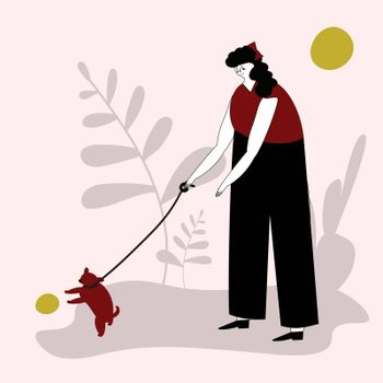 Young cute girl walking with a dog. Vector illustration for service of pet sitter, walker, vet clinic, pet care, hospital, dog shelter. Design template for poster, booklet, banner, flyer, web, advert. Woman plays with a dog.