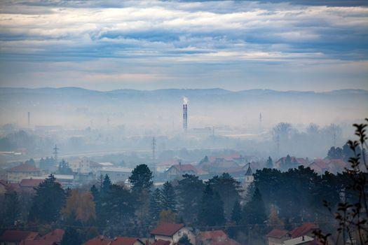 Fog, smog and smoke in Air pollution - Valjevo, West Serbia, Eur