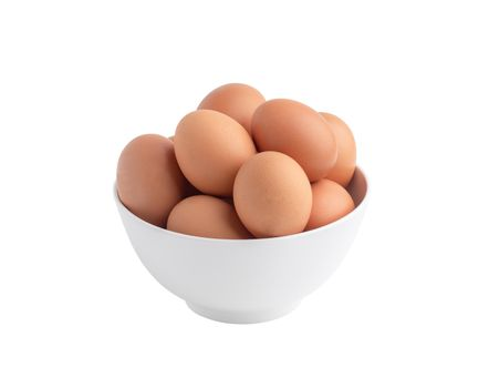 Raw chicken eggs in the white bowl isolated on the white background with clipping paths