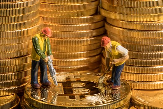 Concept of mining of new bitcoin cyber currency coins