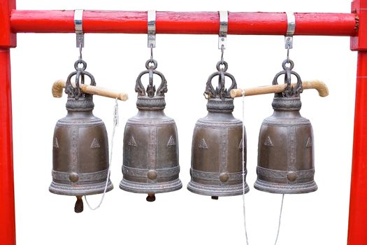 Big Bells in the temple at Thailand on white background with clipping path