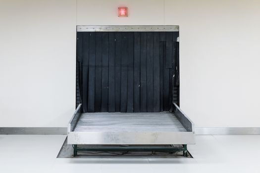 Empty baggage carousel on international airport