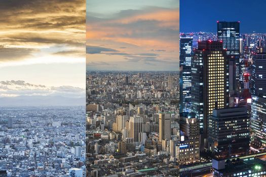 Day and Night view of the city of Japan
