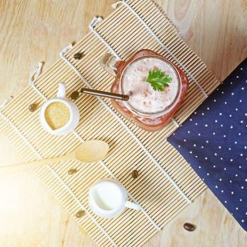 Ice tea art coffee on wooden texture table