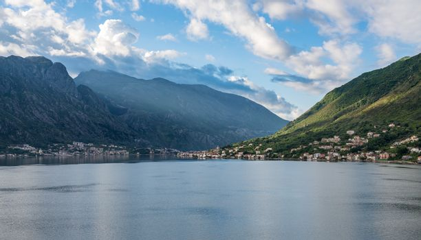 Town of Prcanj on the Bay of Kotor in Montenegro