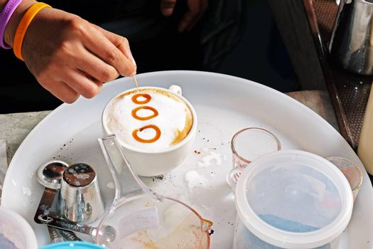 Process of preparation of coffee, a closeup.