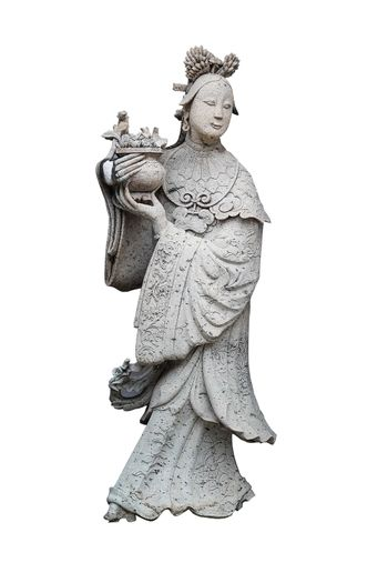wooden statue of a woman with a jug on white background and clipping path