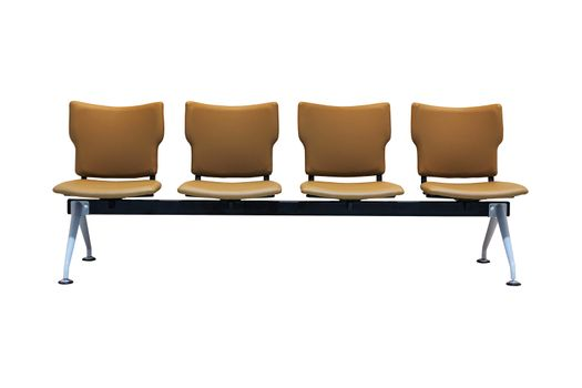 Waiting plastic chairs on white background with clipping path