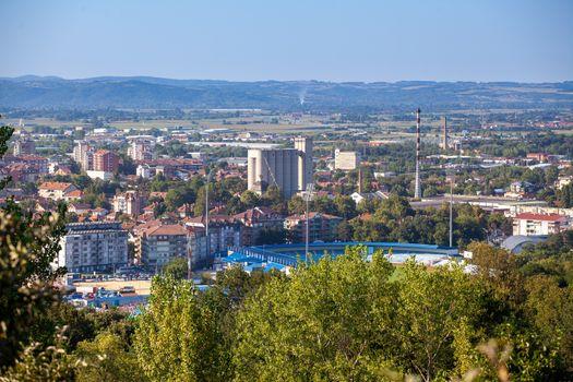 Panorama city of Jagodina. Central Serbia