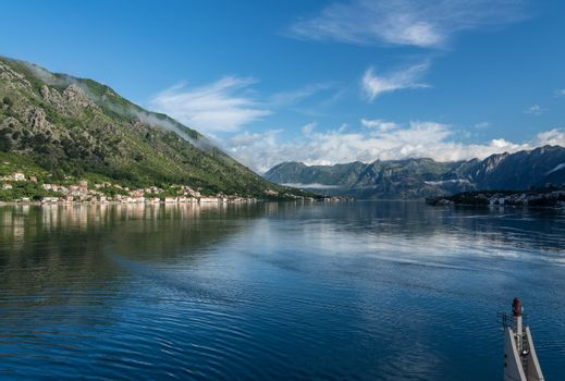 Towns of Prcanj and Dobrota on the Bay of Kotor in Montenegro