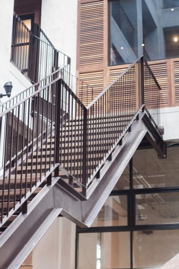 Metal staircase exterior of building , stock photo