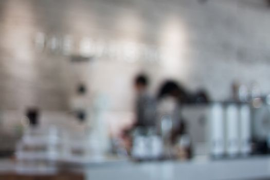 Coffee shop blurred background with bokeh, stock photo