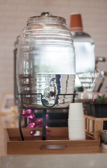 Drinking water for serving in coffee shop, stock photo