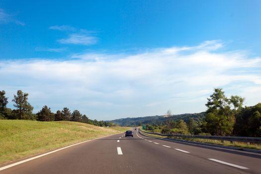 Highway road in Serbia, Europe