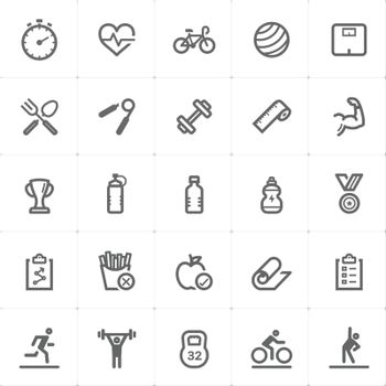 Icon set - Fitness and healthy outline stroke vector illustration on white background