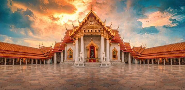 The Marble Temple, Wat Benchamabopitr Dusitvanaram at sunrise in