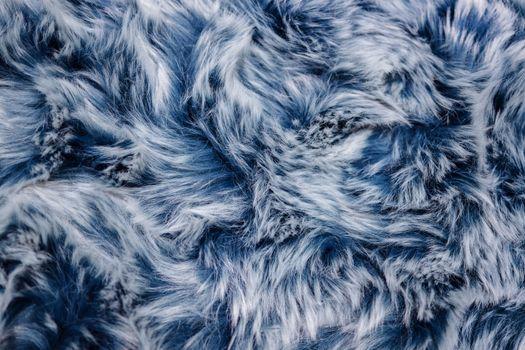 Closeup of Blue Fur Texture. Smooth Fluffy and Softness Backgrou