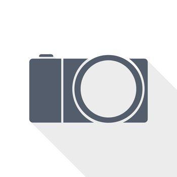 mirrorless camera flat design vector icon, photography concept illustration