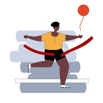 Marathon Finish Line African American Running Man Athletics Sportsman Games. Win Concept. 3D Isometric Marathon Athlete. Sport of Athletic Sporting Competition. Sport Infographic events vector Image.