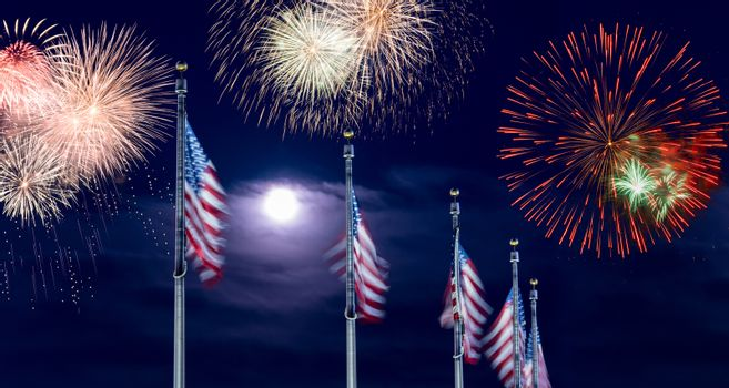 Composite of fireworks over row of US flags for Independence Day