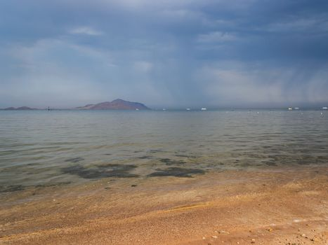 Overcast sky over the Red sea