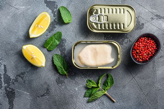 canned squid, set of opened cans closed conserve with fresh leaves and lemon with rose pepper over grey background top view
