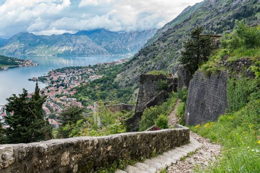 View from above Old Town of Kotor in Montenegro