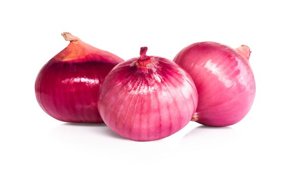Red onion isolated on white background for raw material cooking