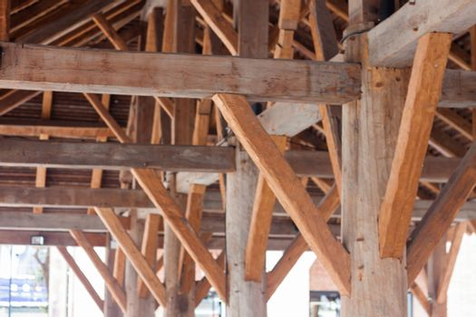 Construction of Vintage wooden roof, stock photo