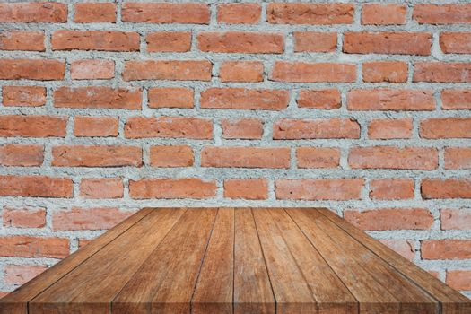 Perspective brown wooden on brick wall. product display template
