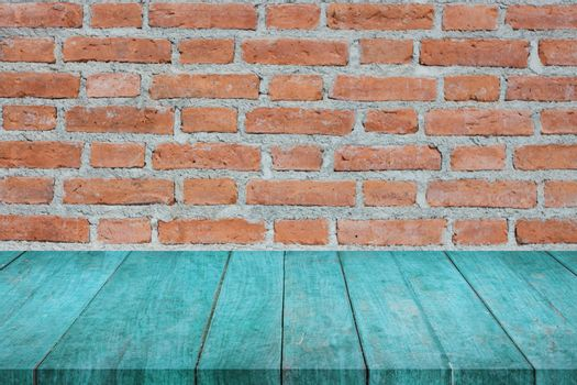Perspective of blue top wooden on brick wall, stock photo