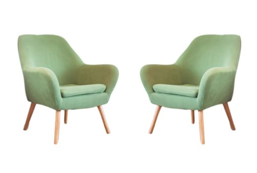 Vintage green chairs isolated on white background with clipping path