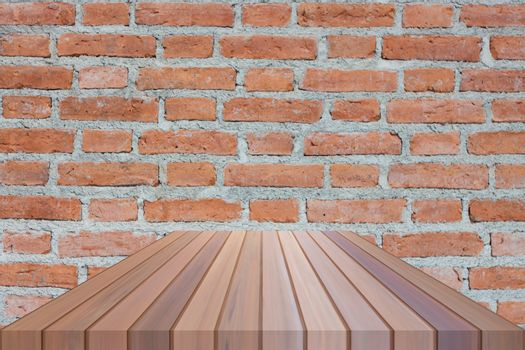 Brown table top on brick wall. For product display