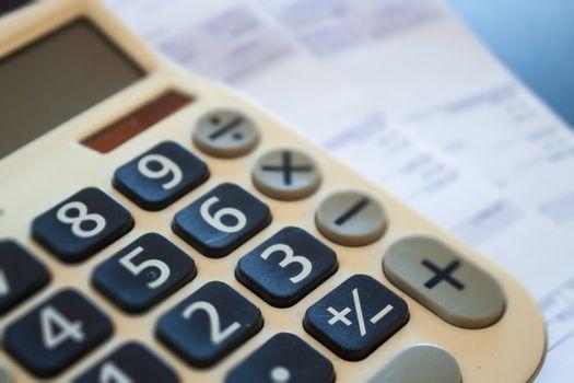 Calculator of some financial data, stock photo