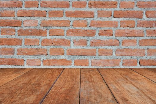 Perspective brown wood on brick wall, stock photo