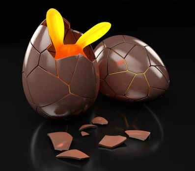 3d Rendering of Chocolate Easter egg with the top broken.
