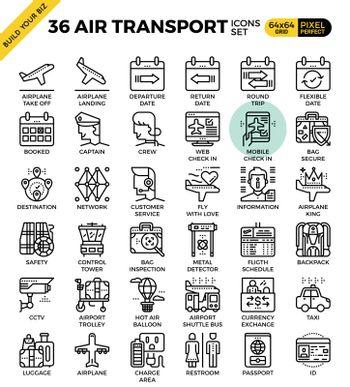 Air Transport & Travel outline icons