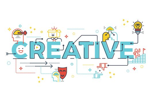Creative word lettering typography design