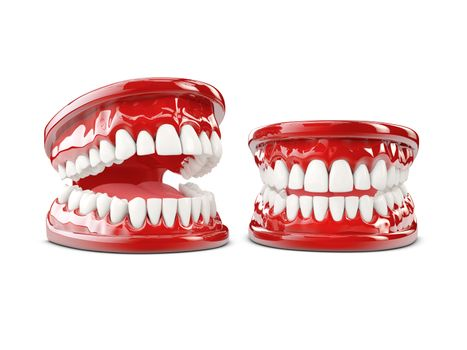 3d Illustration of human teeth, open and close mouth on white background.