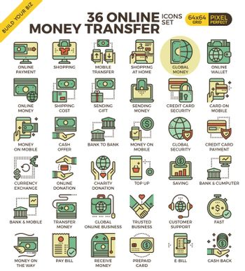 Online money transfer payment icons