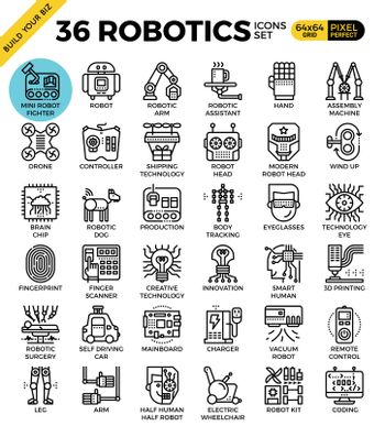 Robotic technology outline icons modern style for website or print illustration