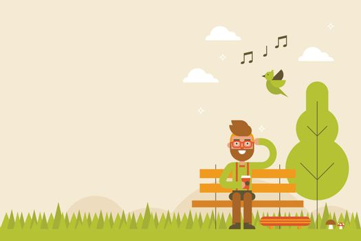 Hipster feeling fresh drink coffee sit in the natural park in spring season background