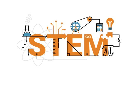 STEM word typography design
