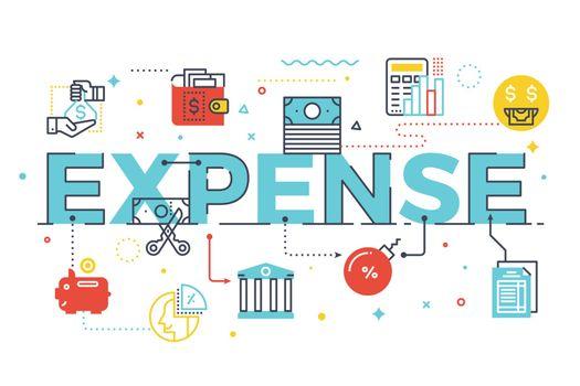 Expense word lettering illustration